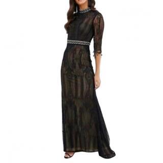 Forever Unique Crystal Embellished Black Lace Dress
