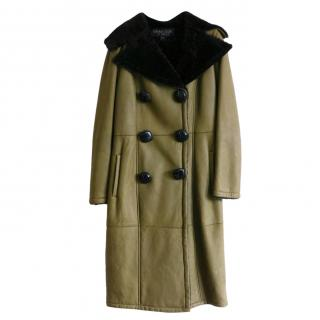 Giambattista Valli Olive Lambskin Shearling Lined Double Breasted Coat