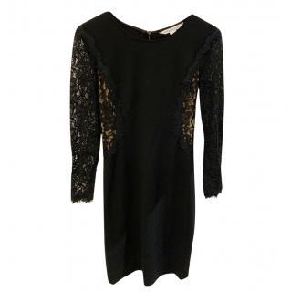 DVF Black Lace Detailed Mini Dress