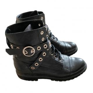 Bally Black Buckle Wrap Combat Boots