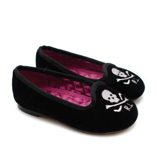 Ralph Lauren Black Velvet Skull Loafers