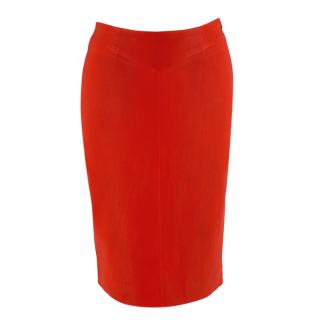 Joseph Red Leather Pencil Skirt