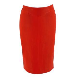 Joseph Red Leather Pencil Skirt