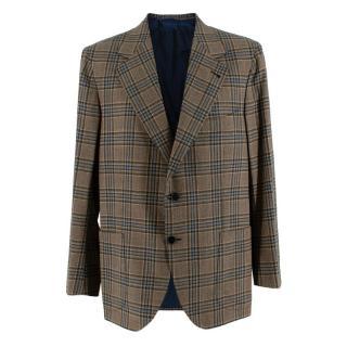 Donato Liguori Cream Checkered Cashmere Blend Tailored Jacket