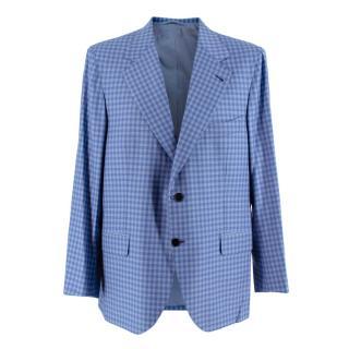 Donato Liguori Blue Gingham Wool blend Tailored Jacket