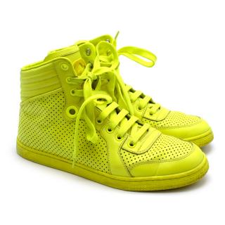 Gucci Neon Yellow Perforated Leather High Top Trainers