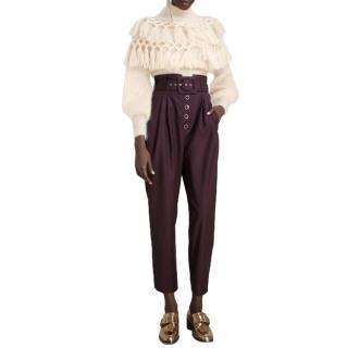 Zimmermann Ladybeetle Buttoned Pants in Aubergine - New Season