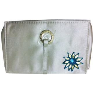 Bvlgari Metallic Ivory Embroidered Toiletry Bag