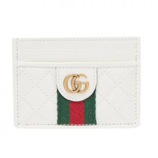Gucci white quilted web stripe leather cardholder
