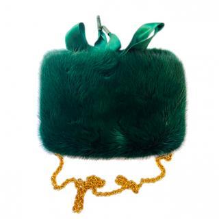 Dolce & Gabbana Emerald Green Mink Fur Wallet on Chain