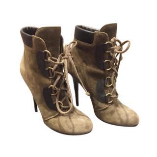Giuseppe Zanotti Suede Khaki Lace-Up Ankle Boots
