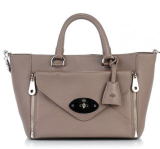 Mulberry Taupe Silky Calfskin Small Willow Tote