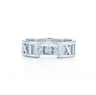 Tiffany & Co 18k White Gold Diamond Atlas Ring