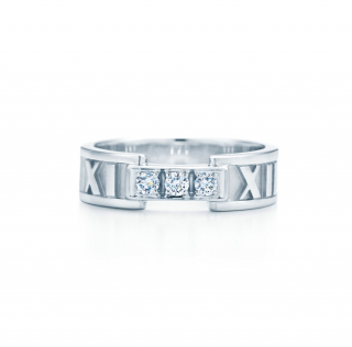 Tiffany & Co 18k White Gold Diamond Atlas Ring