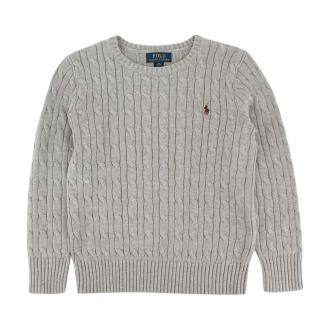 Polo Ralph Lauren Grey Cotton Cable Knit Sweater