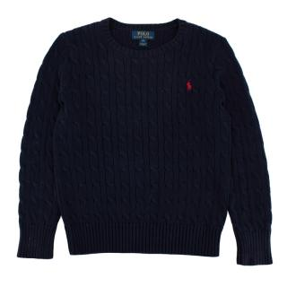 Polo Ralph Lauren Navy Cotton Cable Knit Sweater