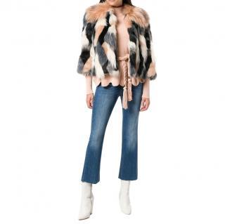 Elisabetta Franchi Faux Fur Tonal Cropped Jacket