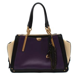 Coach Purple Beige & Black Leather Top Handle Bag