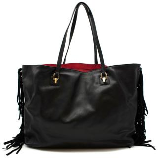 Diane von Furstenberg Black Sutra Leather Fringe Bag