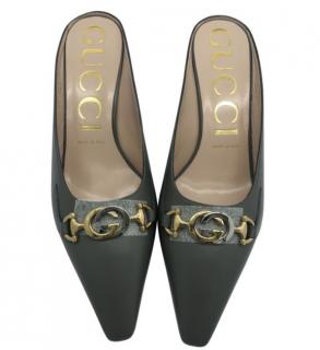Gucci Grey Interlocking G Leather Mules