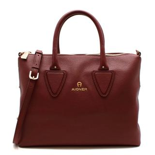 Aigner Burgundy Leather Top Handle Bag