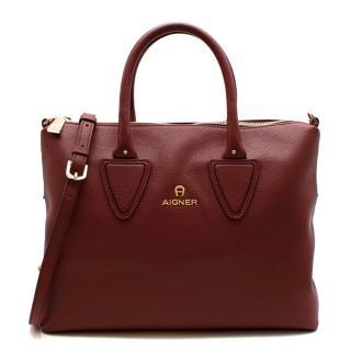 Aigner Burgundy Leather Top Handle Bag