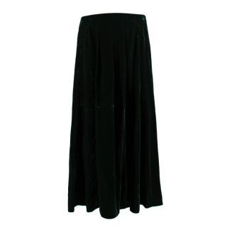 Bruce Oldfield Green Velvet Maxi Skirt