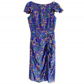 Saloni Blue Crepe De Chine Heather Dress