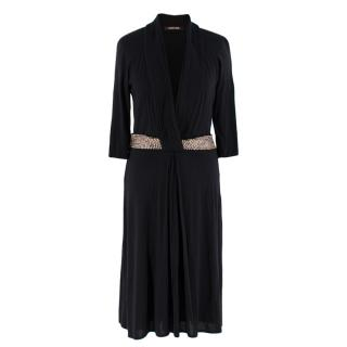 Roberto Cavalli Black Fitted Dress with Embellished Waist