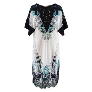 Roberto Cavalli Printed Embroidered Shift Dress