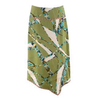 Zepla Green Silk Multi-Print Asymmetric Skirt
