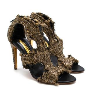 Rupert Sanderson Lurex Tweed Cut-Out Sandals