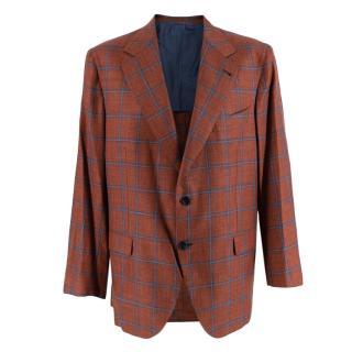 Donato Liguori Orange Checkered Wool Blend Tailored Jacket