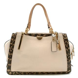 Coach Cream Snakeskin Trimmed Leather Shoulder Bag