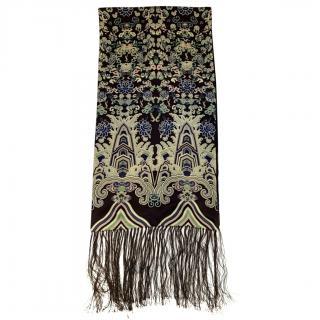 Yves Saint Laurent Printed Silk Vintage Tassel Scarf