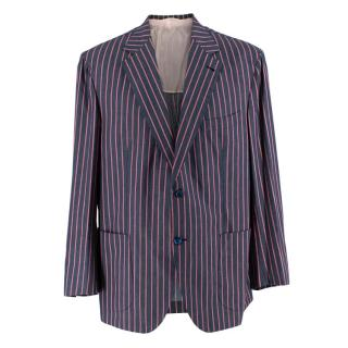 Donato Liguori Grey Striped Cotton Blend Tailored Jacket