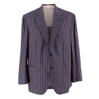 Donato Liguori Grey Striped Cotton Blend Tailored Jacket