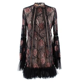 Alexis Lia Lace Mini Dress in Black Rose