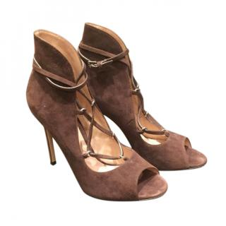 Gianvito Rossi Brown Suede Lace-Up Sandals