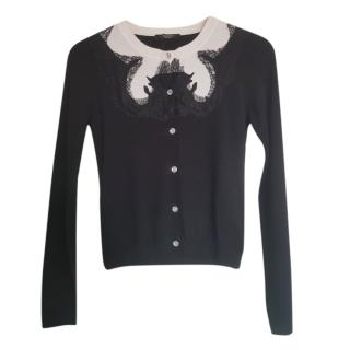 Weekend Max Mara Black & White Lace Trimmed Cardigan
