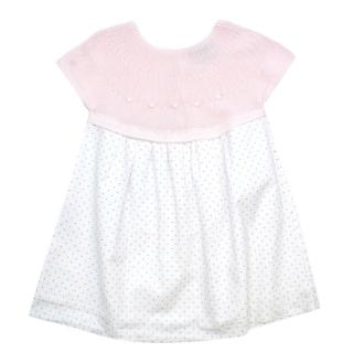 A. Anichini Pink Knit & Spotted Cotton Girls 24m Dress