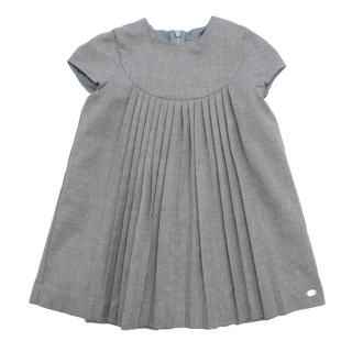 Tartine et Chocolat Grey Flannel Short Sleeve Pleated Dress
