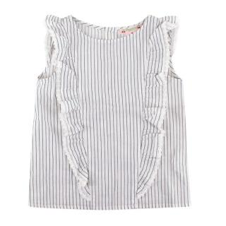 Bonpoint Blue Striped Ruffled Top
