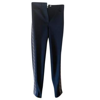 Fendi Black High Waist Jeans with Monogram Side Stripe