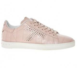 Tod's Pink Croc Embossed Cassetta Sneakers