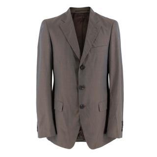 Prada Taupe Cotton Single Breasted Blazer