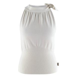 Burberry White Knit Tie Neck Sleeveless Top