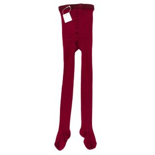 Bonpoint Red Knit Ribbed Tights
