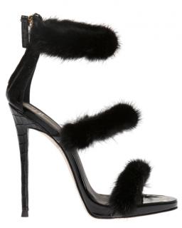 Giuseppe Zanotti Black Croc Embossed Fur 3 Strap Sandals