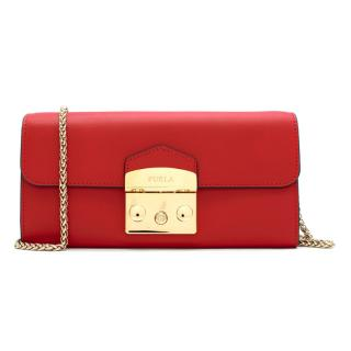 Furla Red Leather Wallet with Chain Shoulder Strap